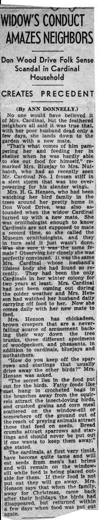Bertha Henson mating behavior Cardinals Ann Donnelly